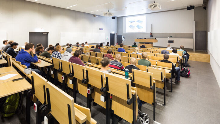 Students and lecturer in a lecture room